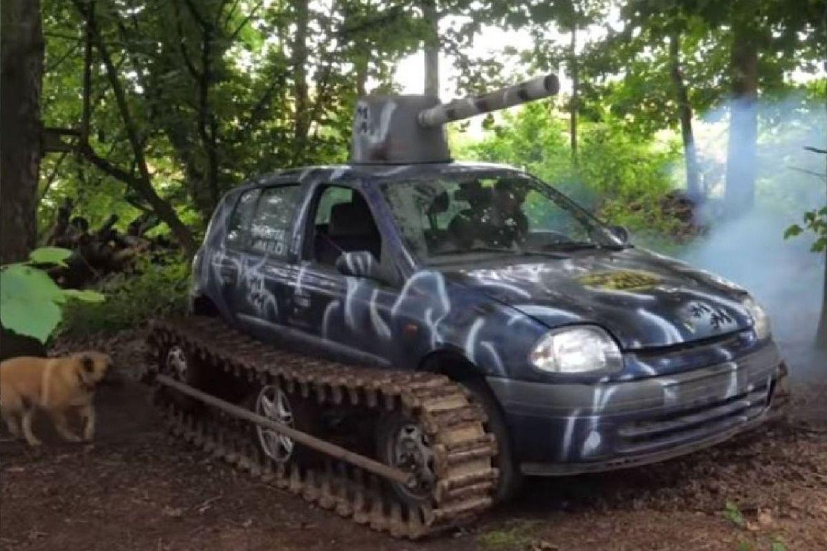 Youtuber transformou seu Renault Clio em um tanque de guerra